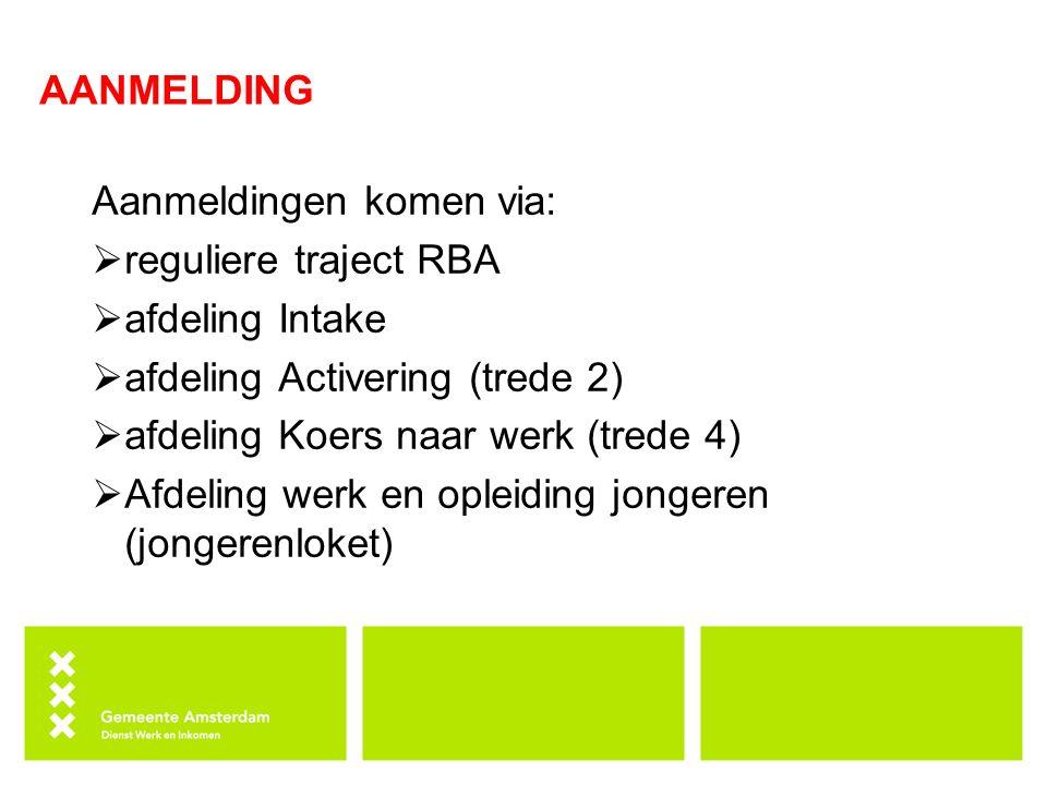 AANMELDING Aanmeldingen komen via: reguliere traject RBA. afdeling Intake. afdeling Activering (trede 2)