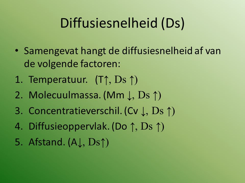 Diffusiesnelheid (Ds)