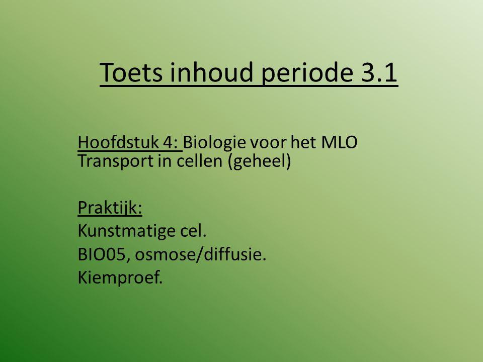 Toets inhoud periode 3.1 Hoofdstuk 4: Biologie voor het MLO Transport in cellen (geheel) Praktijk: