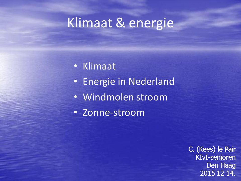 Klimaat & energie Klimaat Energie in Nederland Windmolen stroom