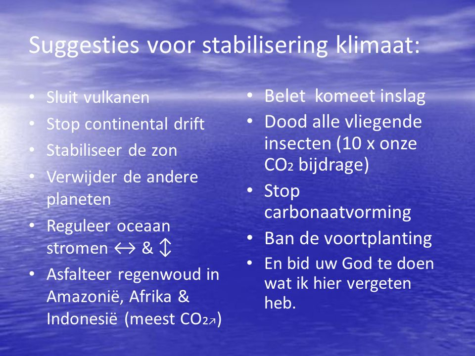 Suggesties voor stabilisering klimaat: