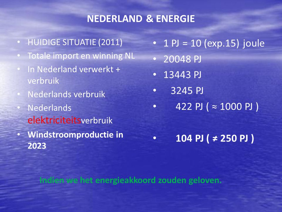 NEDERLAND & ENERGIE 1 PJ = 10 (exp.15) joule 20048 PJ 13443 PJ 3245 PJ