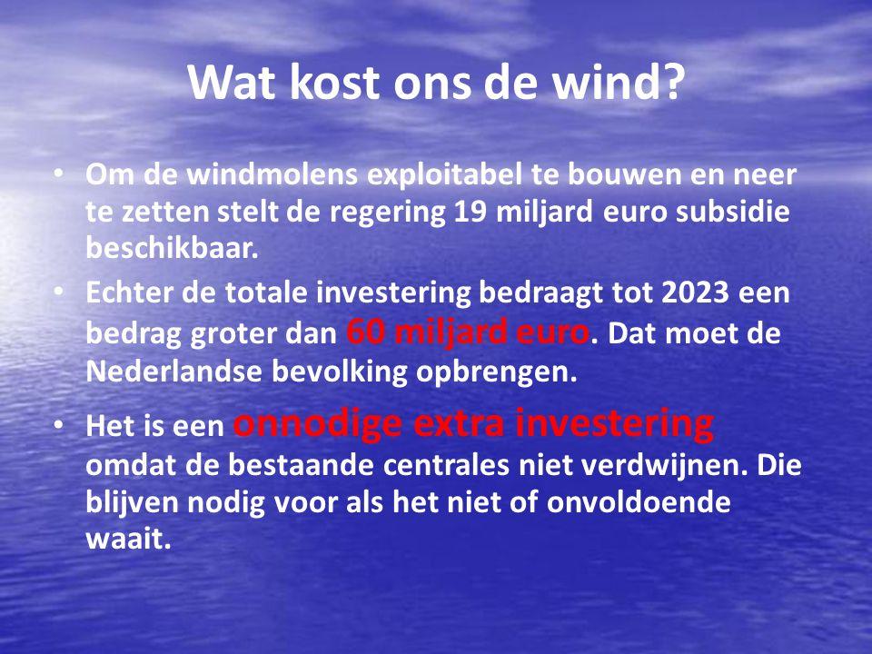 Wat kost ons de wind Om de windmolens exploitabel te bouwen en neer te zetten stelt de regering 19 miljard euro subsidie beschikbaar.
