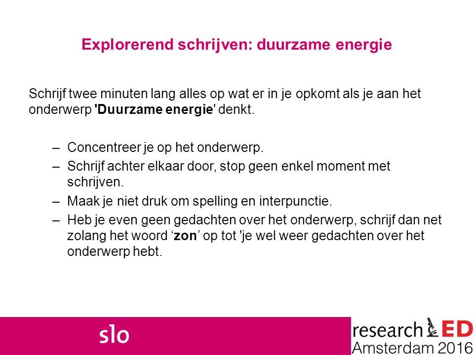 Explorerend schrijven: duurzame energie