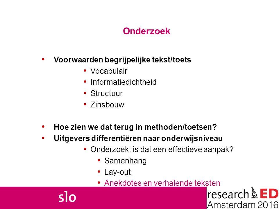 Onderzoek Voorwaarden begrijpelijke tekst/toets Vocabulair