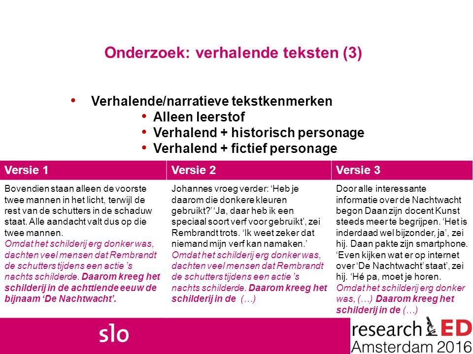 Onderzoek: verhalende teksten (3)
