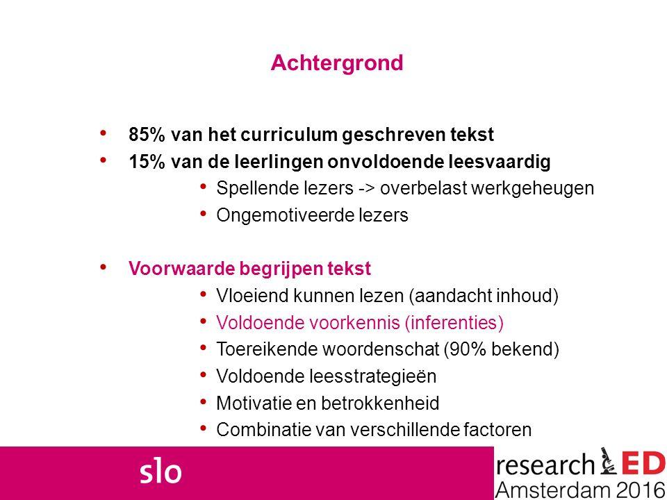 Achtergrond 85% van het curriculum geschreven tekst