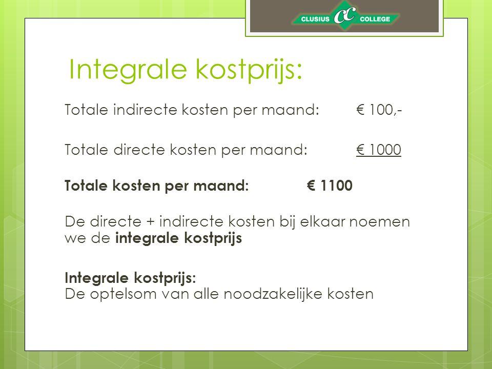 Integrale kostprijs: Totale indirecte kosten per maand: € 100,-