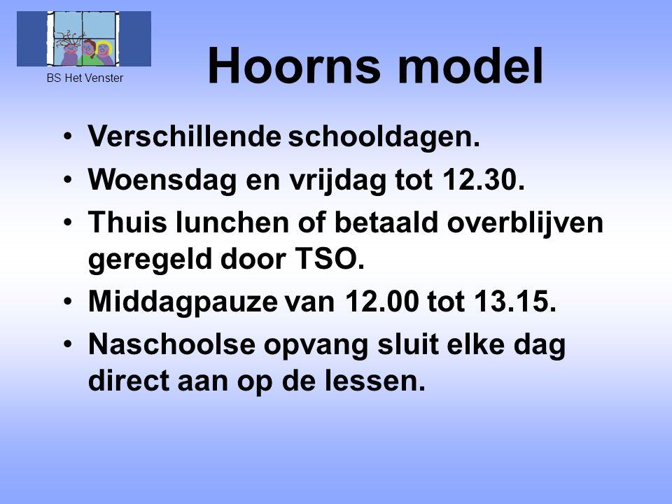 Hoorns model Verschillende schooldagen. Woensdag en vrijdag tot 12.30.