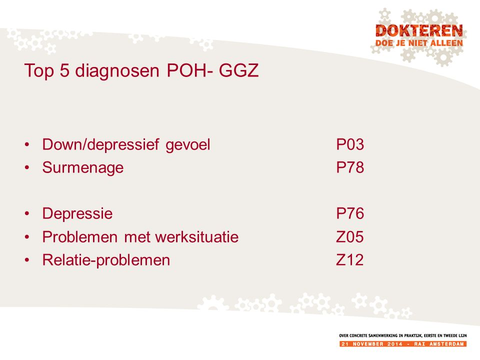 Top 5 diagnosen POH- GGZ Down/depressief gevoel P03 Surmenage P78