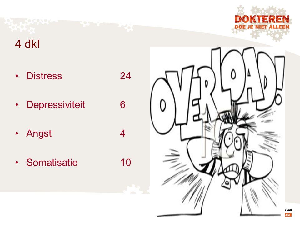 4 dkl Distress 24 Depressiviteit 6 Angst 4 Somatisatie 10