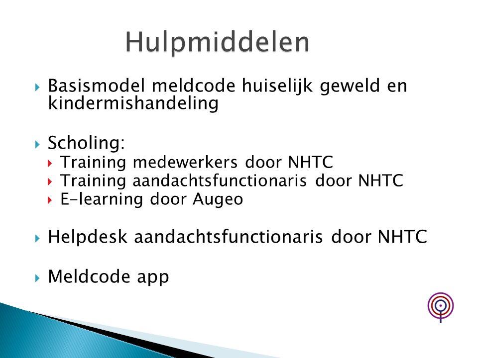 Hulpmiddelen Basismodel meldcode huiselijk geweld en kindermishandeling. Scholing: Training medewerkers door NHTC.