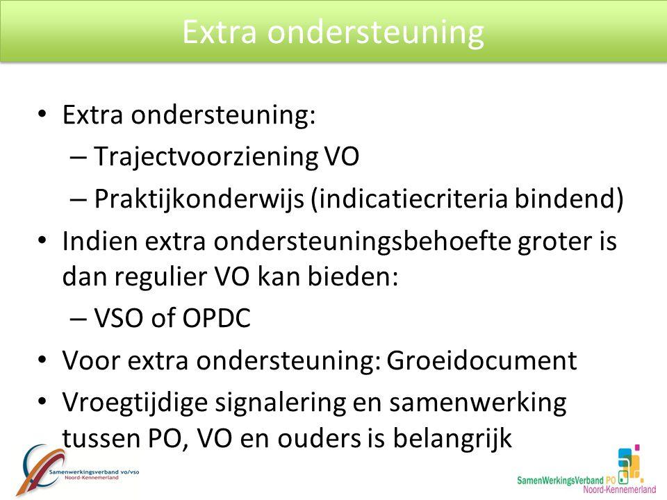 Extra ondersteuning Extra ondersteuning: Trajectvoorziening VO