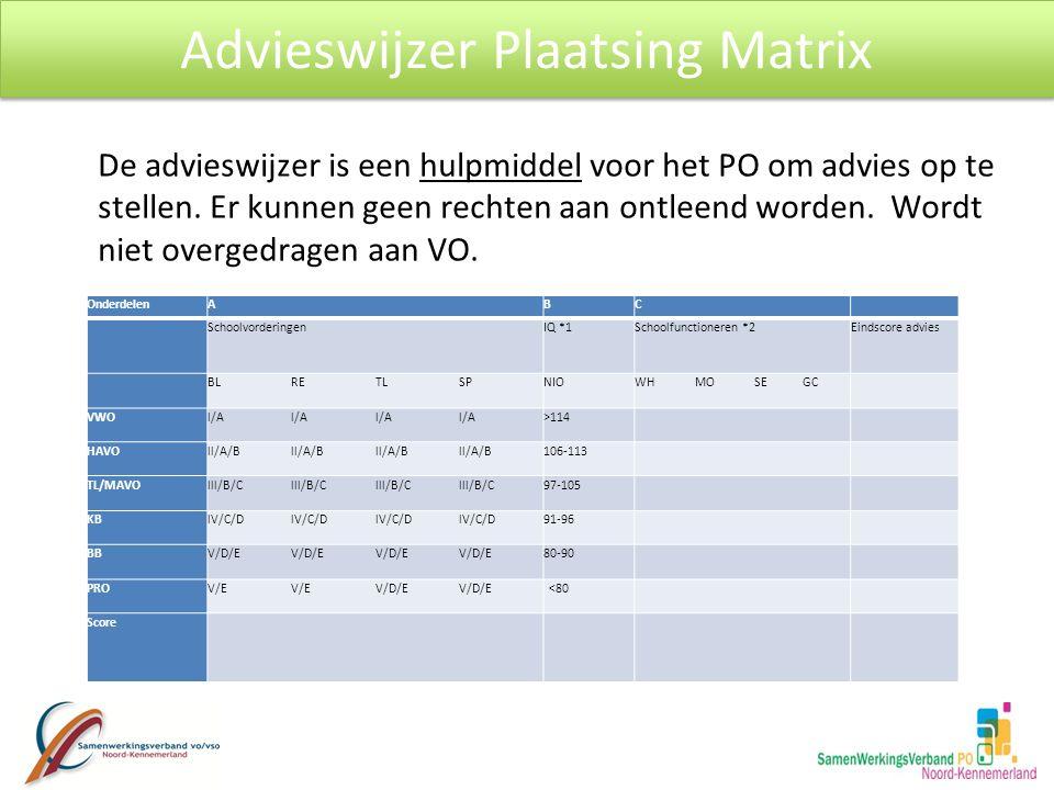 Advieswijzer Plaatsing Matrix