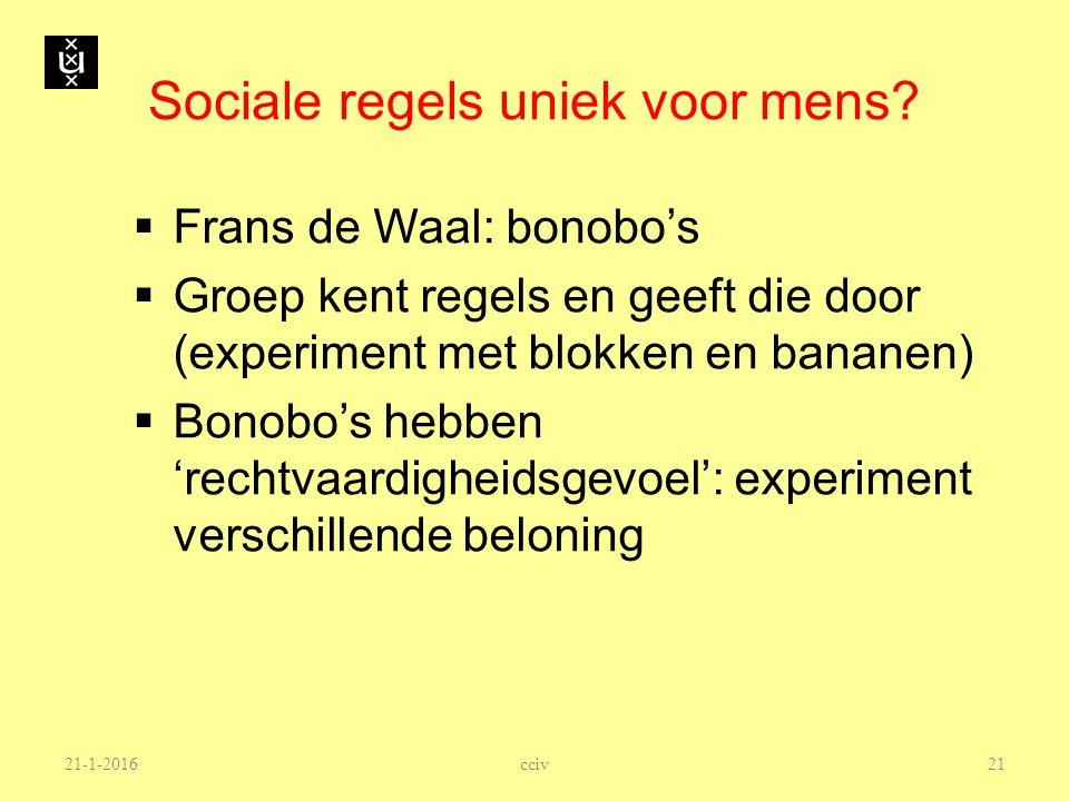 Sociale regels uniek voor mens