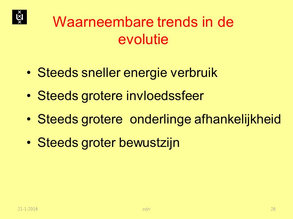 Waarneembare trends in de evolutie