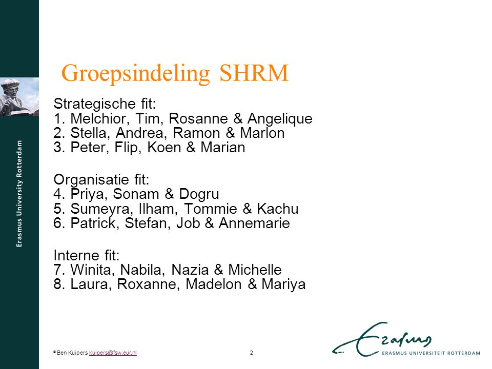 Groepsindeling SHRM