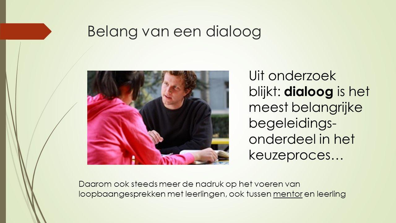 Belang van een dialoog Uit onderzoek blijkt: dialoog is het meest belangrijke begeleidings-onderdeel in het keuzeproces…