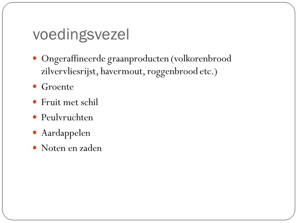 voedingsvezel Ongeraffineerde graanproducten (volkorenbrood zilvervliesrijst, havermout, roggenbrood etc.)