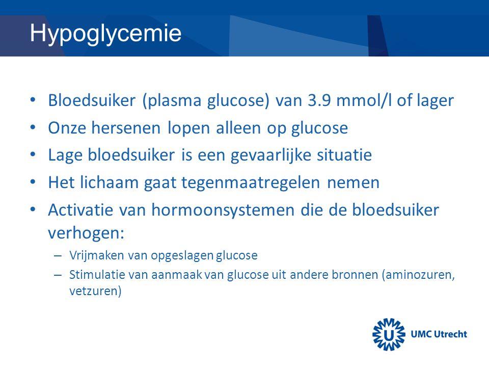 Hypoglycemie Bloedsuiker (plasma glucose) van 3.9 mmol/l of lager