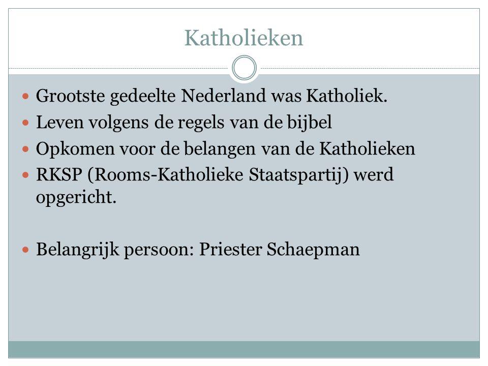 Katholieken Grootste gedeelte Nederland was Katholiek.