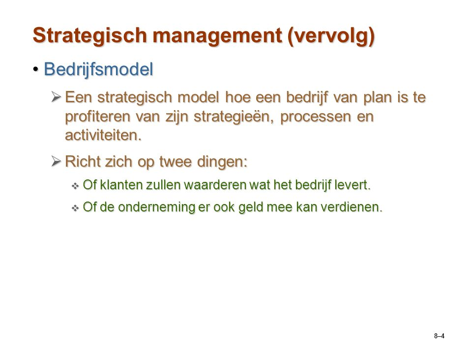 Strategisch management (vervolg)