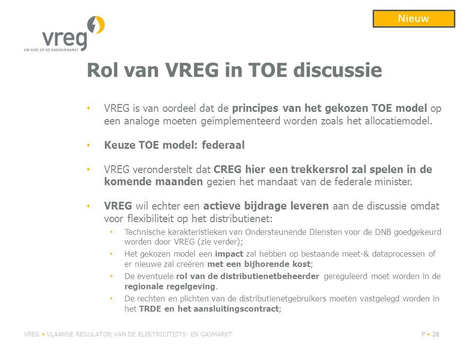 Rol van VREG in TOE discussie