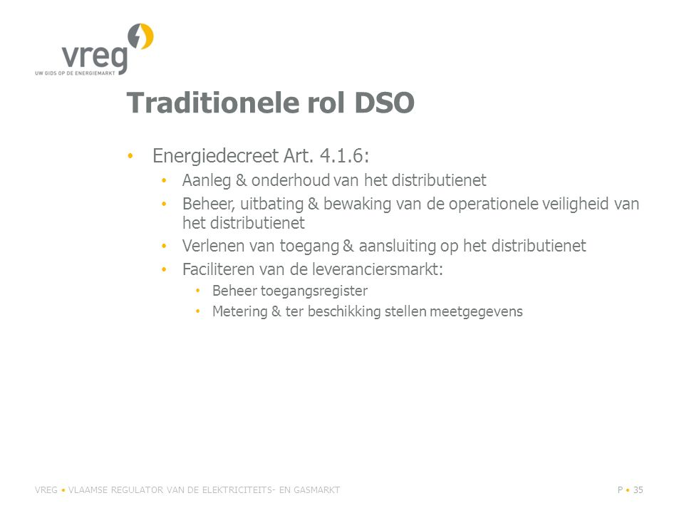 Traditionele rol DSO Energiedecreet Art. 4.1.6: