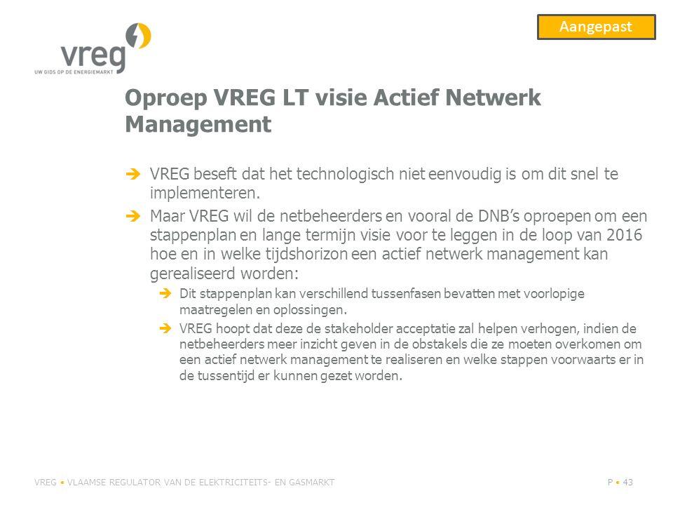 Oproep VREG LT visie Actief Netwerk Management
