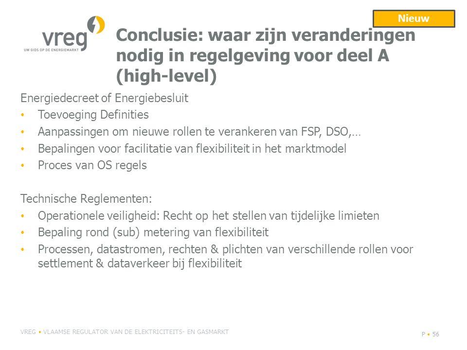 Nieuw Conclusie: waar zijn veranderingen nodig in regelgeving voor deel A (high-level) Energiedecreet of Energiebesluit.