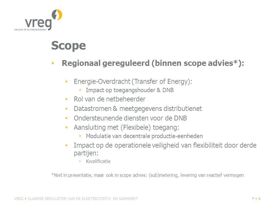 Scope Regionaal gereguleerd (binnen scope advies*):