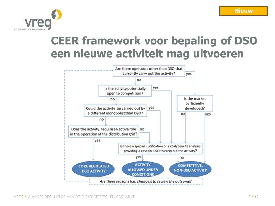 Nieuw CEER framework voor bepaling of DSO een nieuwe activiteit mag uitvoeren.
