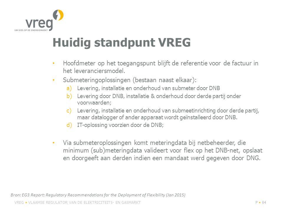 Huidig standpunt VREG Hoofdmeter op het toegangspunt blijft de referentie voor de factuur in het leveranciersmodel.