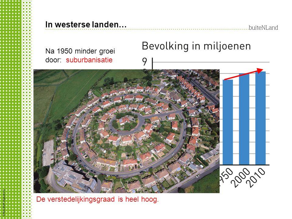 In westerse landen… Na 1950 minder groei door: suburbanisatie