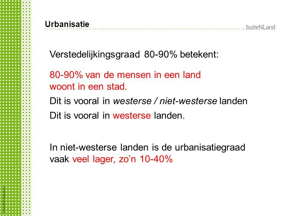 Verstedelijkingsgraad 80-90% betekent:
