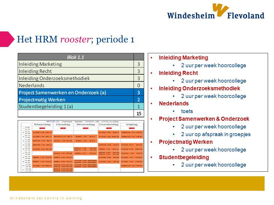 Het HRM rooster; periode 1