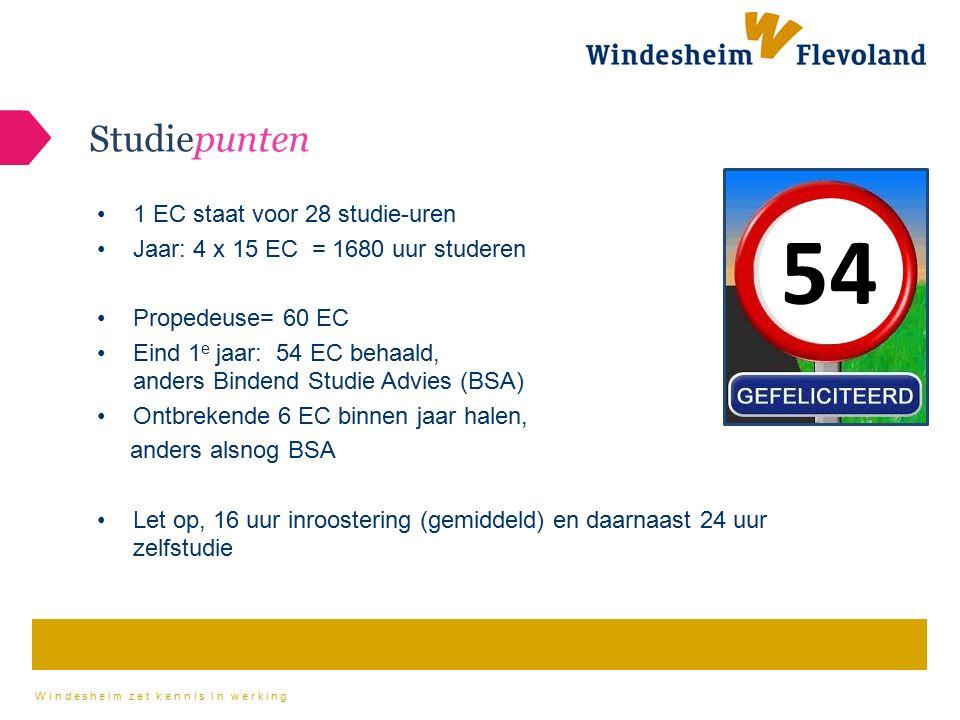 54 Studiepunten 1 EC staat voor 28 studie-uren