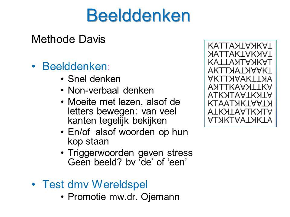 Beelddenken Methode Davis Beelddenken: Test dmv Wereldspel Snel denken