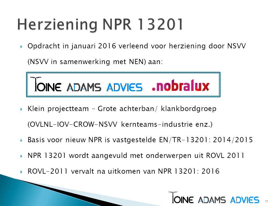 Herziening NPR 13201 Opdracht in januari 2016 verleend voor herziening door NSVV (NSVV in samenwerking met NEN) aan: