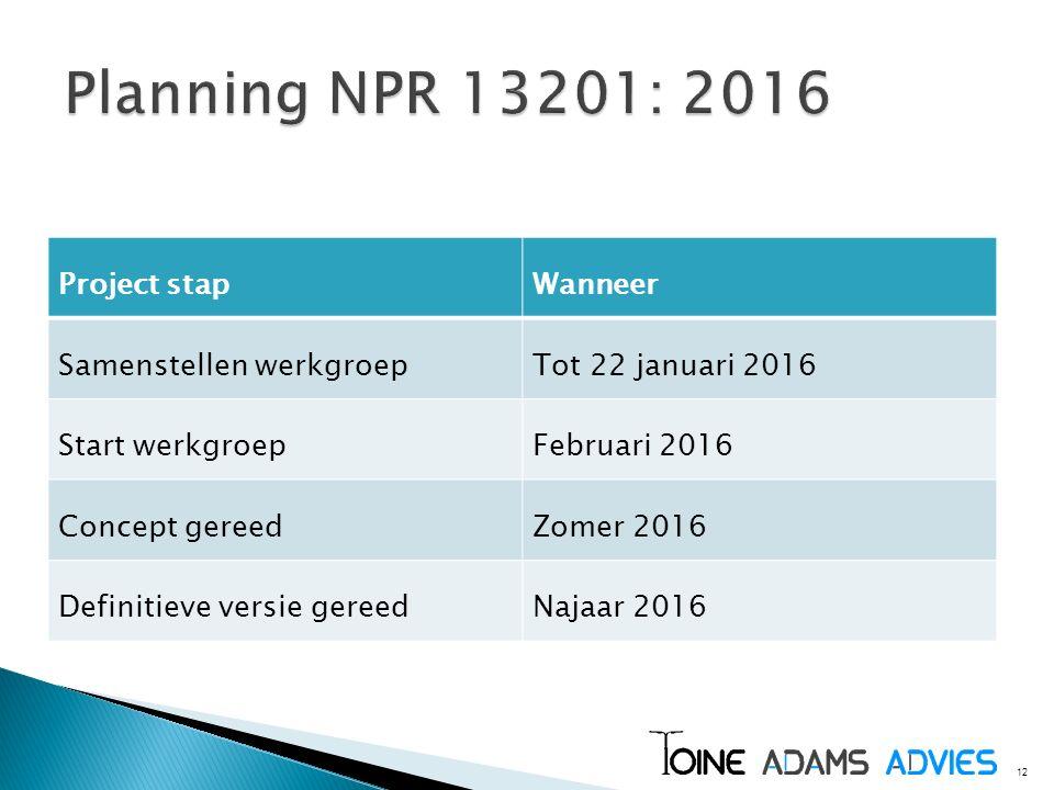 Planning NPR 13201: 2016 Project stap Wanneer Samenstellen werkgroep