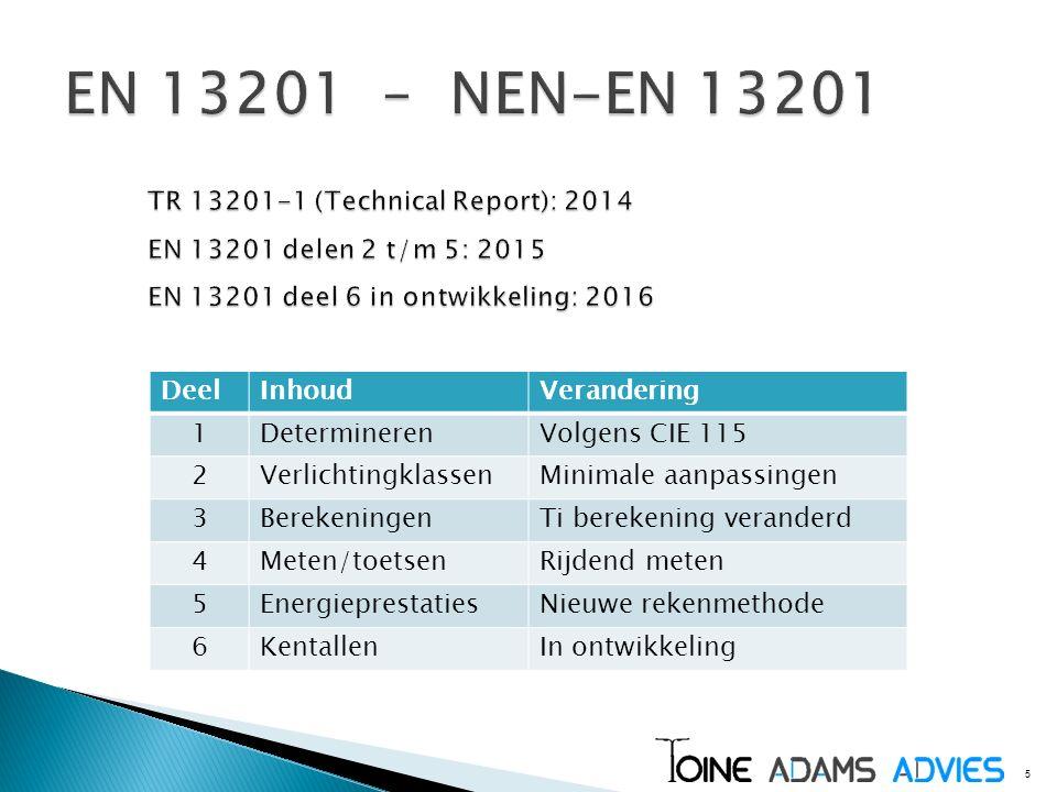 EN 13201 – NEN-EN 13201 TR 13201-1 (Technical Report): 2014 EN 13201 delen 2 t/m 5: 2015 EN 13201 deel 6 in ontwikkeling: 2016.