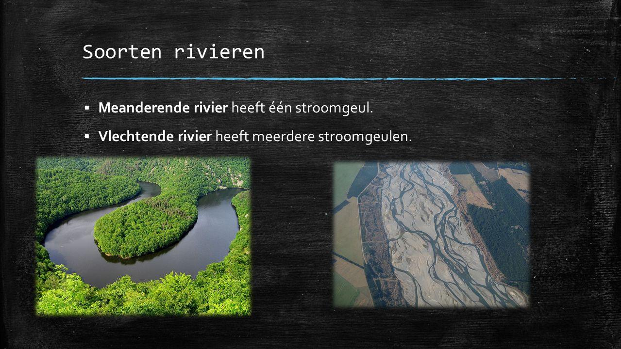 Soorten rivieren Meanderende rivier heeft één stroomgeul.