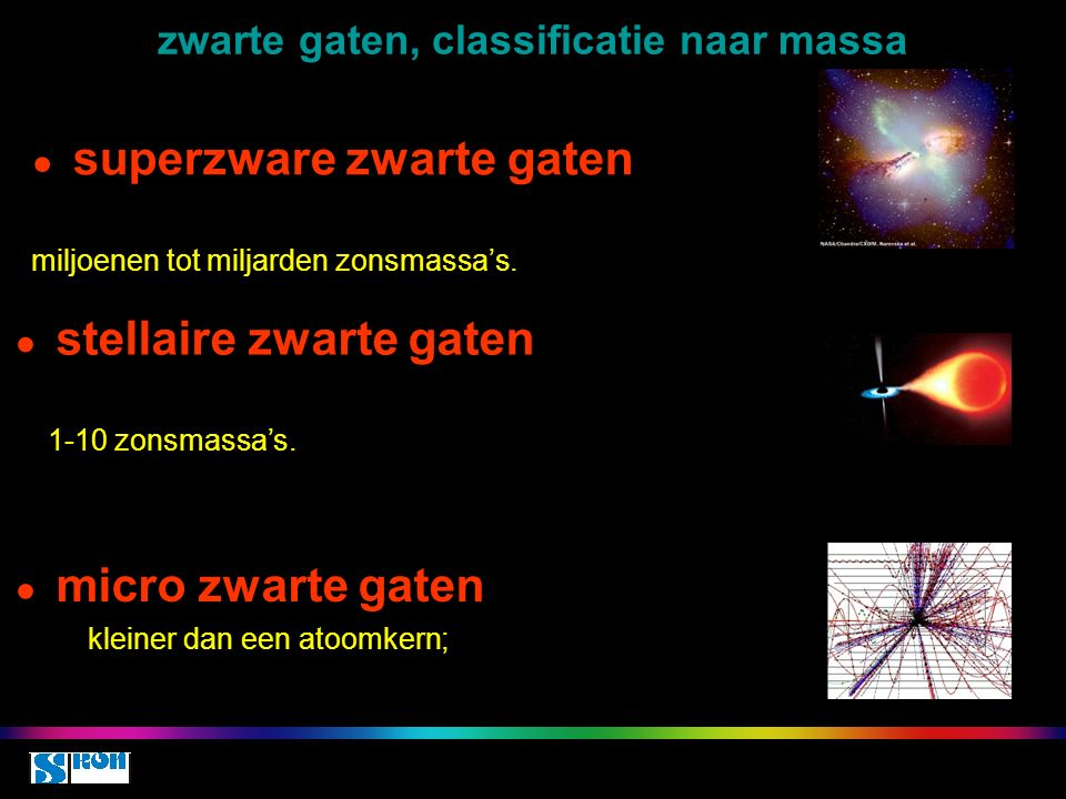 zwarte gaten, classificatie naar massa