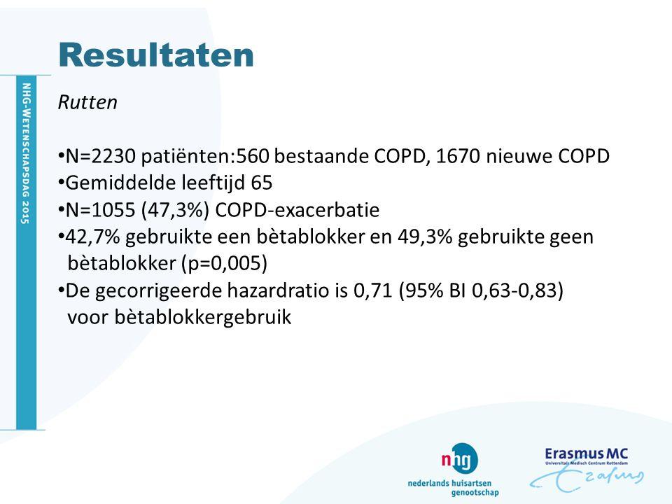 Resultaten Rutten. N=2230 patiënten:560 bestaande COPD, 1670 nieuwe COPD. Gemiddelde leeftijd 65.