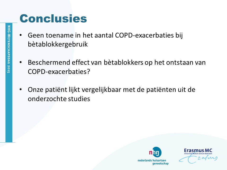 Conclusies Geen toename in het aantal COPD-exacerbaties bij bètablokkergebruik.