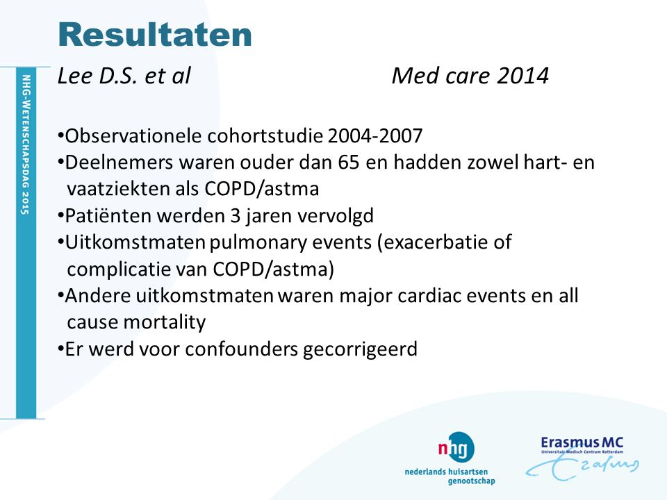 Resultaten Lee D.S. et al Med care 2014