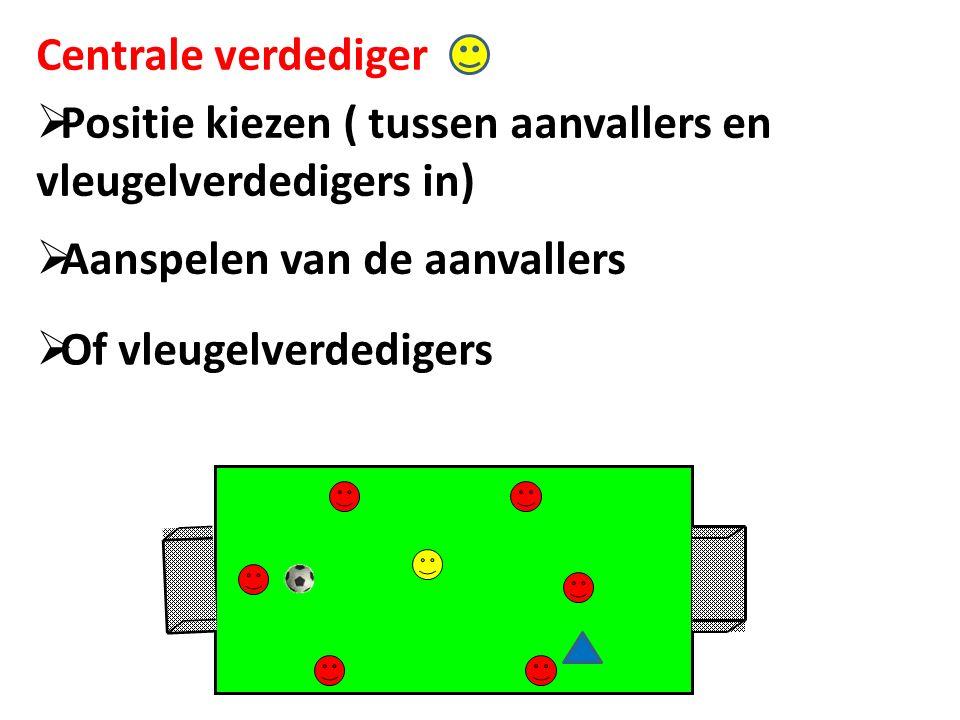 Centrale verdediger Positie kiezen ( tussen aanvallers en vleugelverdedigers in) Aanspelen van de aanvallers.
