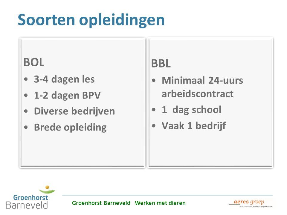 Soorten opleidingen BBL BOL 3-4 dagen les