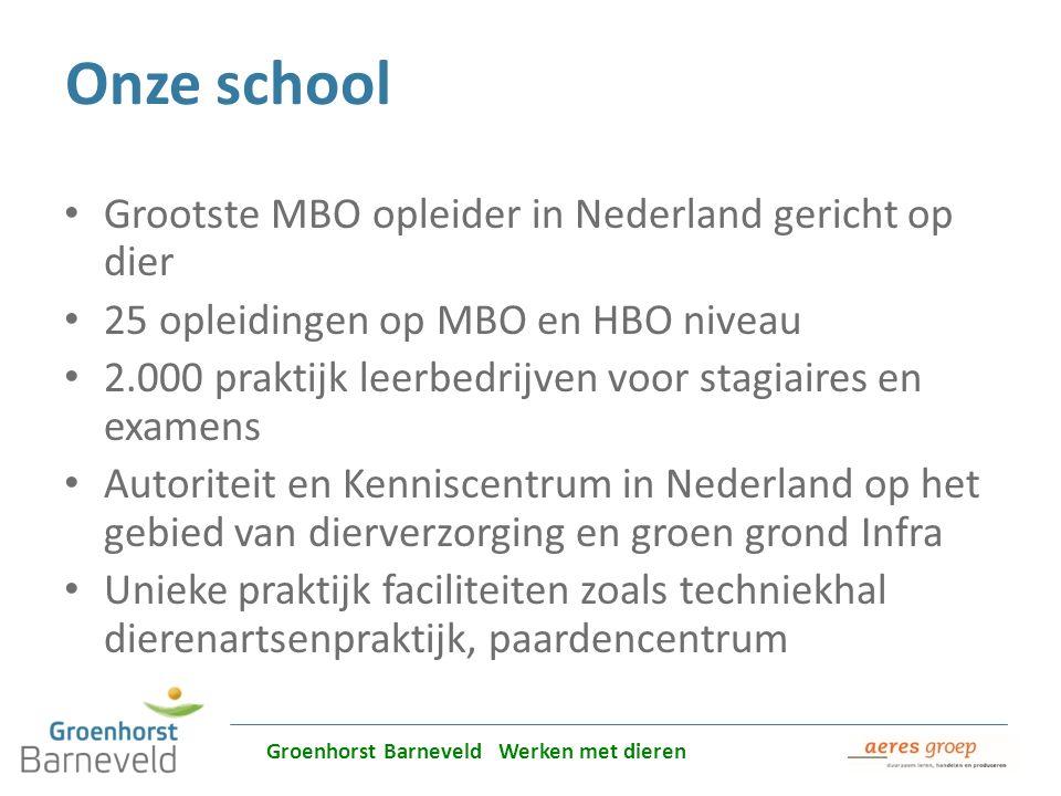 Onze school Grootste MBO opleider in Nederland gericht op dier