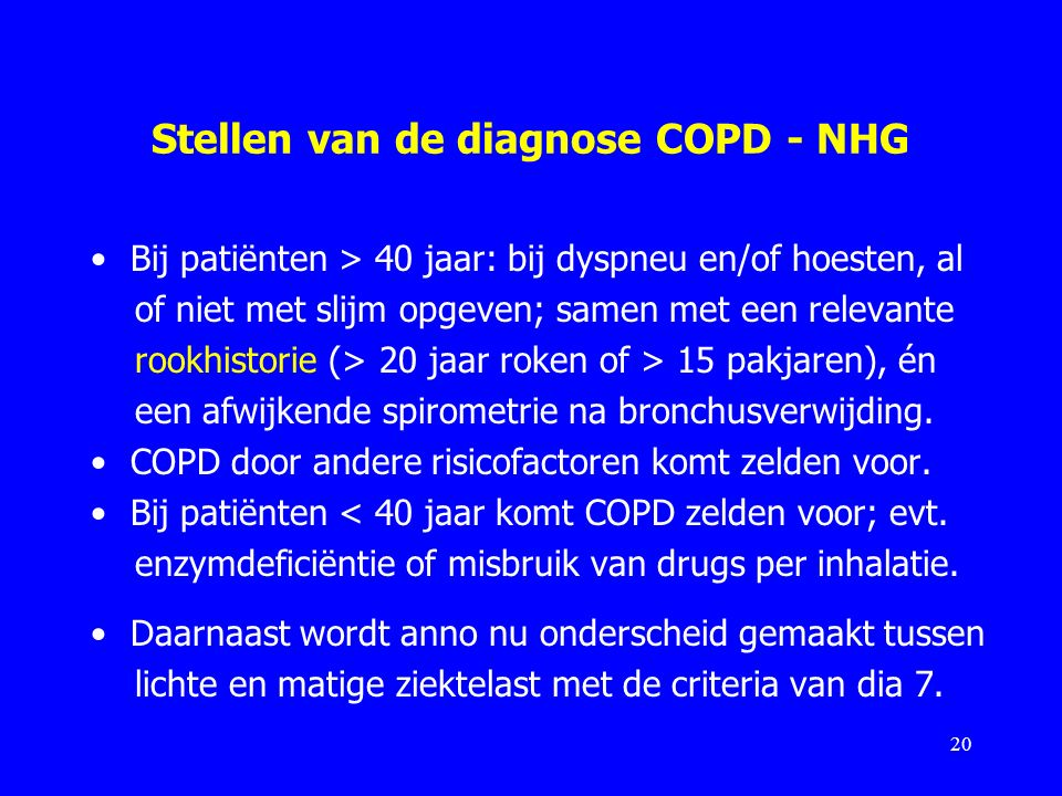 Stellen van de diagnose COPD - NHG